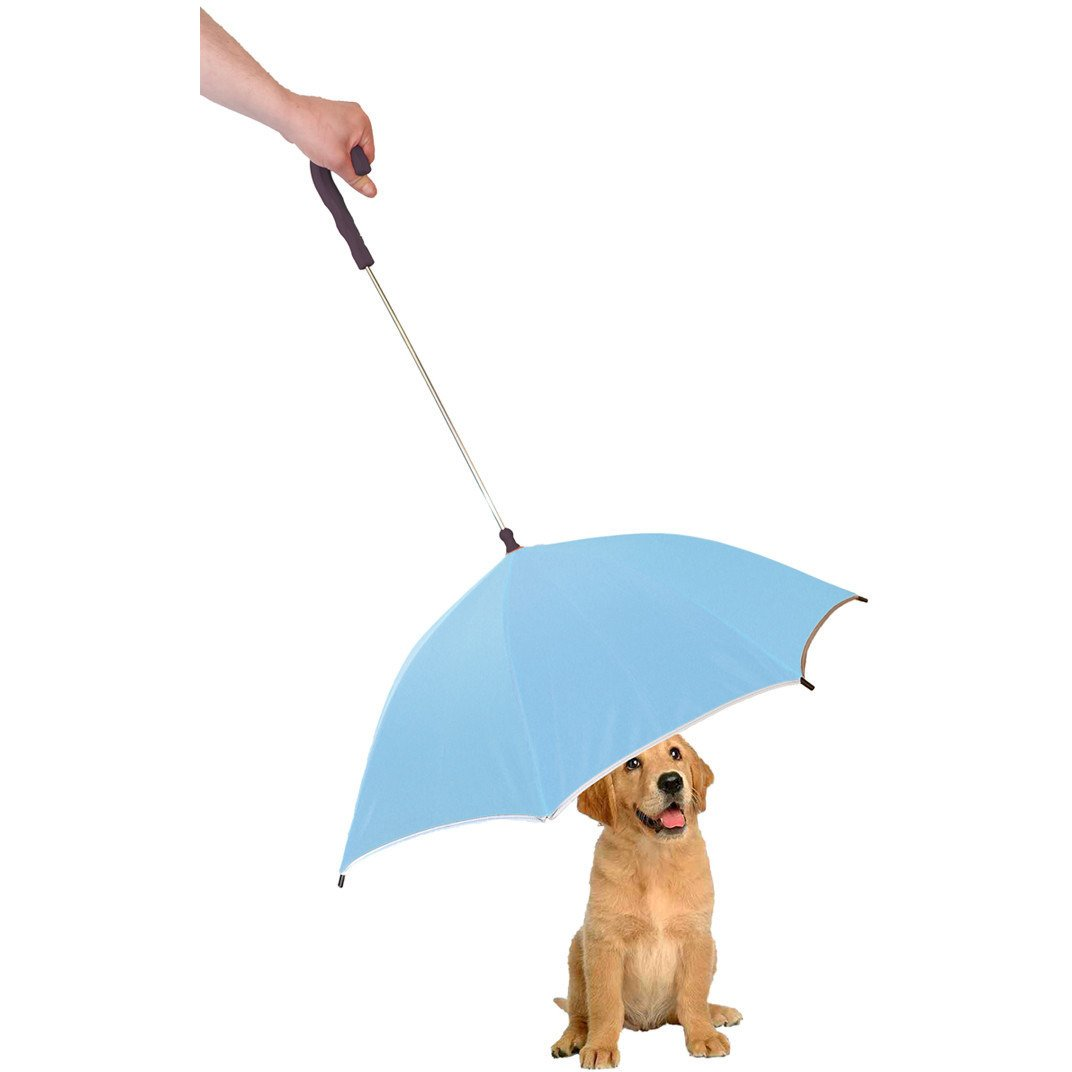 Pour-Protection Umbrella With Reflective Lining And Leash Holder - Blue