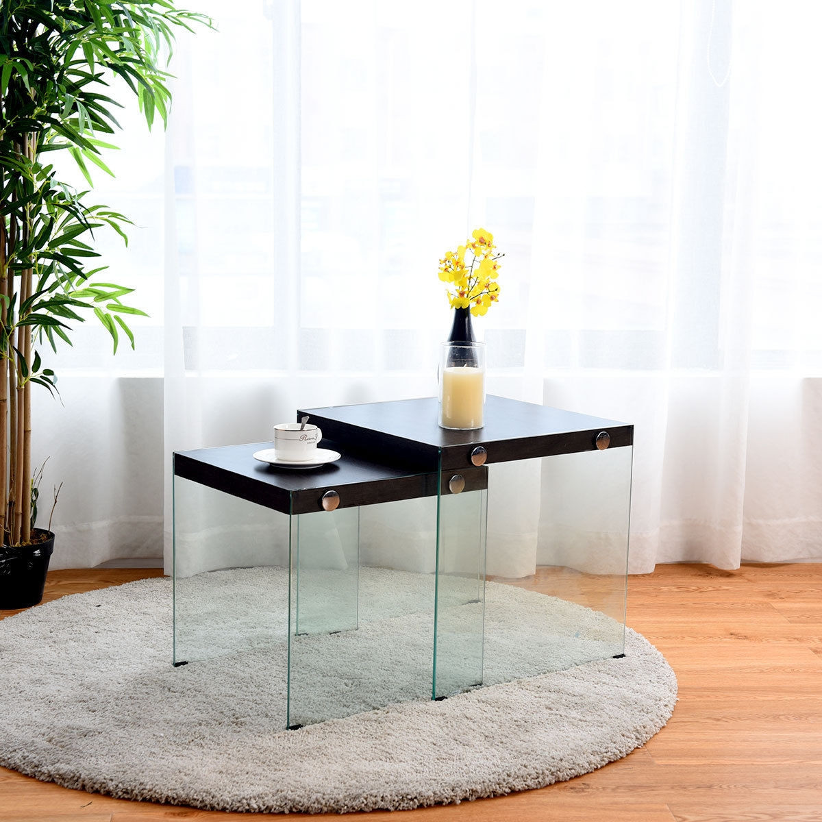 2 Pcs Soho Nesting Coffee Table Stackable Glass Sided Table