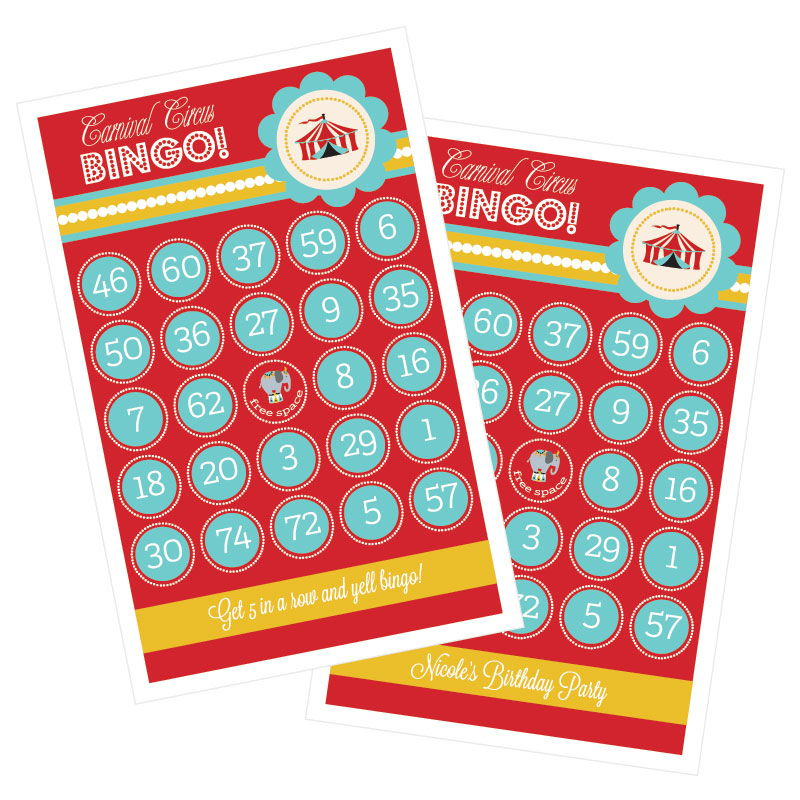Carnival Circus Party Bingo - Set of 16