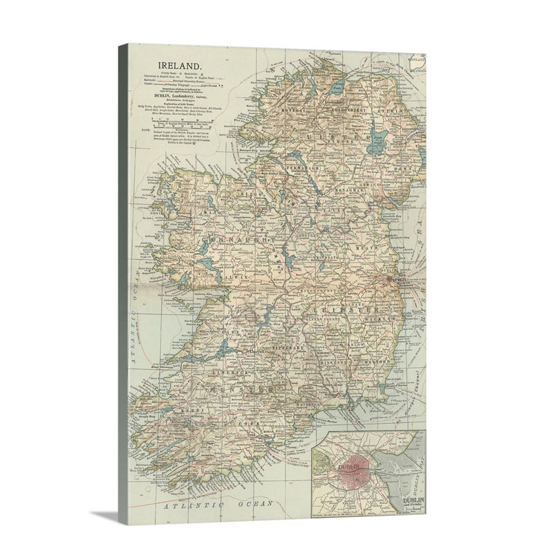 Ireland Vintage Map Wall Art - Canvas - Gallery Wrap