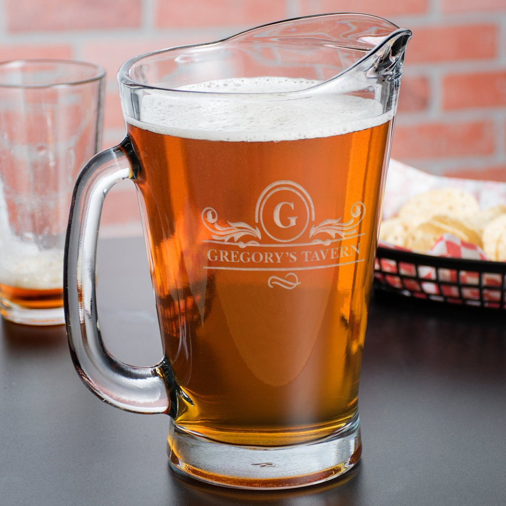 Personalized Tavern Glass Beer Wagon Pitcher