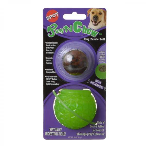 Spot Play'N Chew Treat Plug Puzzle Ball - Small - 2.5 in. Diameter - 4 Pieces