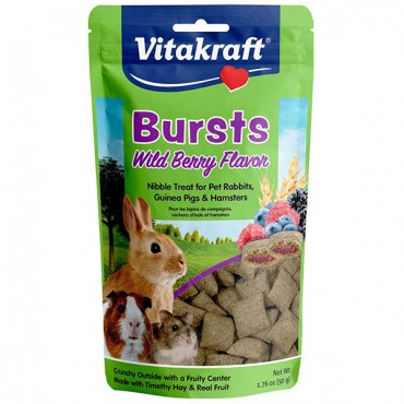 Vitakraft Bursts Treat for Rabbits, Guinea Pigs & Hamsters - Wild Berry Flavor - 1.76 oz - 4 Pieces