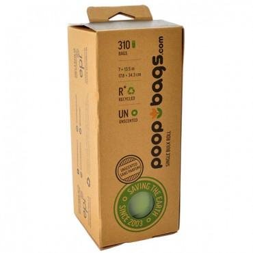 Poop Bags Single Bulk Roll Recycled Bags - Unscented - 1 Roll - 310 Bags - 2 Pieces