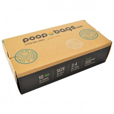Poop Bags Litter Box Liners - 10 Count - 2 Pieces