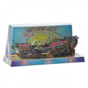 Penn Plax Action Air Shipwreck Aquarium Ornament - 10 in. Long x 7 in. High - With Masts in Place