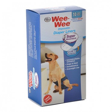 Four Paws Wee Wee Super Absorbent Disposable Diaper Liners - 10 Pack - Fits All Garment Sizes - 2 Pieces