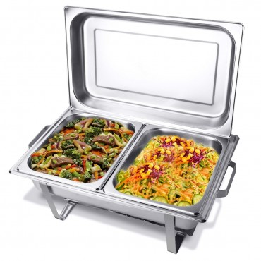 2 Packs Dish 9 Quart Stainless Rectangular Buffet Chafer