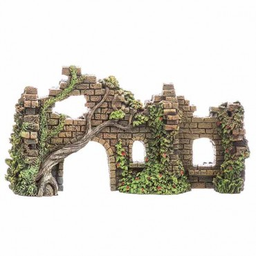 Blue Ribbon Exotic Environments Cobblestone Castle Walls Aquarium Ornament - 10 in. L x 3.5 in. W x 5.5 in. H