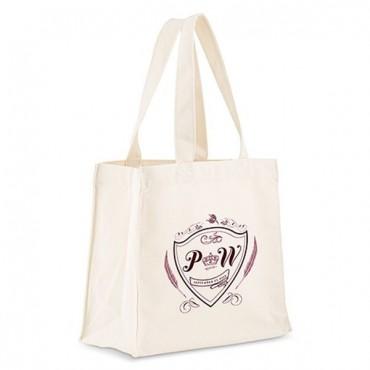 Personalized White Cotton Canvas Tote Bag - Regal Monogram
