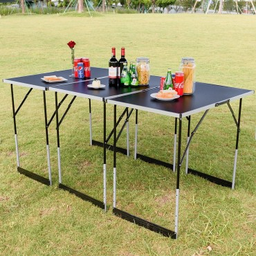 3 Pcs Folding Height Adjustable Camping Picnic Table Set