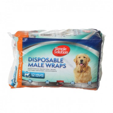 Simple Solution Disposable Male Wraps - Large - 12 Count
