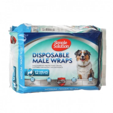 Simple Solution Disposable Male Wraps - Medium - 12 Count