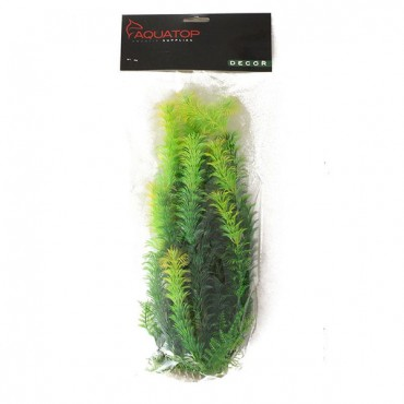 Aqua top Yellow Tipped Aquarium Plant - Green - 12 in. High w/ Weighted Base