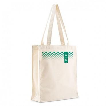 Personalized White Cotton Canvas Tote Bag - Chevron Monogram