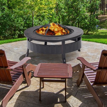32 In. Round Metal Firepit Patio Garden Stove