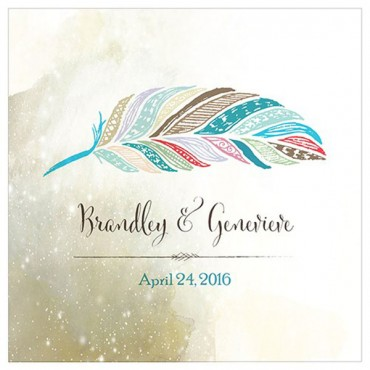 Feather Whimsy Personalized Clear Acrylic Block Cake Topper