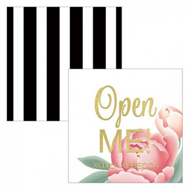 Modern Floral Square Favor Tag - Open Me Foiled Print
