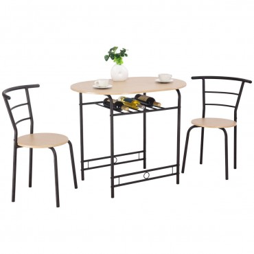 3 Pcs Dining Set Table And 2 Chairs Bistro Pub Furniture