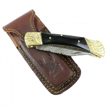 8.5 in. Damascus Blade Folding Knife Black Color Wood Handle hand made with Sheath