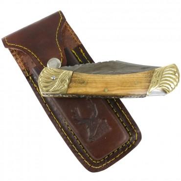 TheBoneEdge 8 in. Damascus Blade Folding Knife Wood Gold trim hand made with Sheath
