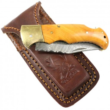 6.5 in. Damascus Blade Folding Knife Wood Gold trim hand made with Sheath