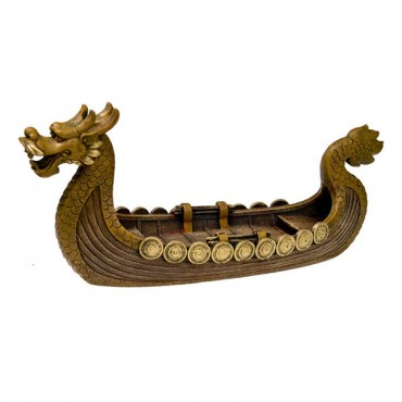 Exotic Environments Dragon Boat Aquarium Ornament - Gold - 15 in. L x 4.75 in. W x 7.25 in. H