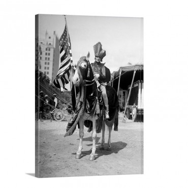 1930s Smiling Man On Horse Wearing Costume Holding U S Flag Horse Wearing Fringed Cape Wall Art - Canvas - Gallery Wrap