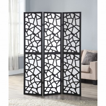 3 Panel Folding Shoji Room Divider Screen With Pine Wood Frame