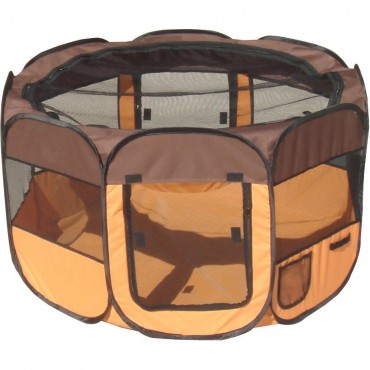 All-Terrain Lightweight Easy Folding Wire-Framed Collapsible Travel Pet Playpen - Brown/Orange