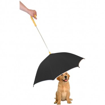 Pour-Protection Umbrella With Reflective Lining And Leash Holder - Black