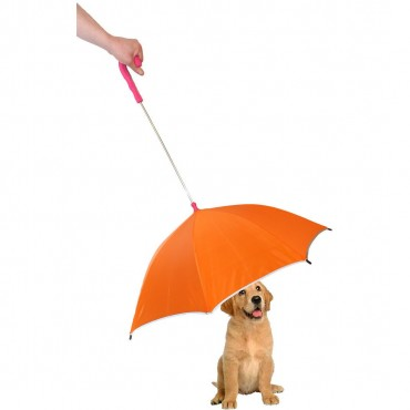 Pour-Protection Umbrella With Reflective Lining And Leash Holder - Orange