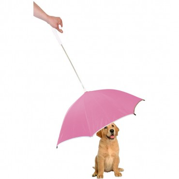Pour-Protection Umbrella With Reflective Lining And Leash Holder - Pink