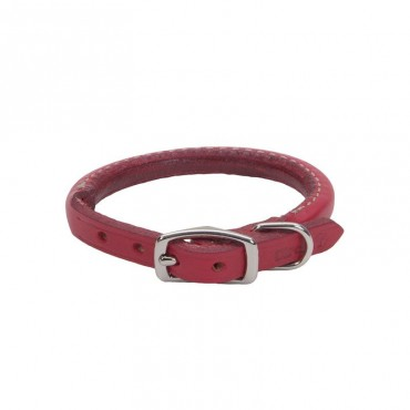 Circle T Oak Tanned Leather Round Dog Collar - Red - 12 Neck