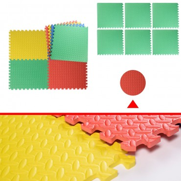 48 Sq Ft EVA Foam Floor Interlocking Mat Show Floor Garage Gym Mat Multi-Color