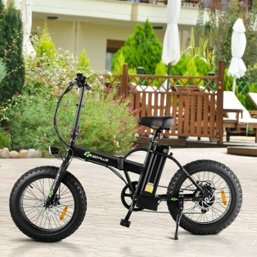 Folding Adults 500 W Electric Bicycle With 20 In. Fat Tire and LCD Display