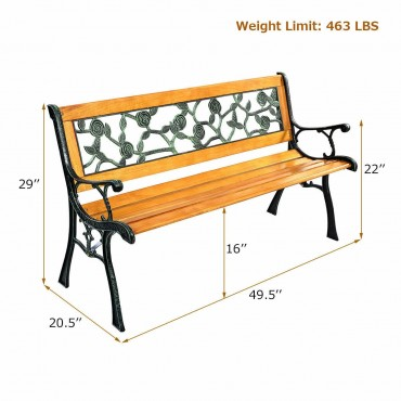 GOPLUS 49 1/2 In. Patio Park Garden Porch Chair Bench