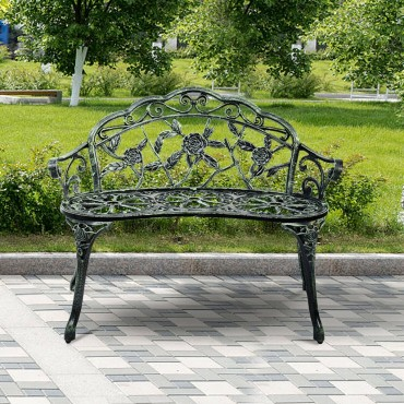 Outdoor Cast Aluminum Patio Bench Antique Rose