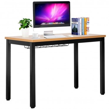 Computer Desk With Cable Organizer Sturdy Writing Desk Black