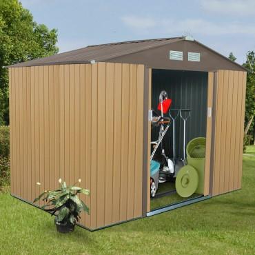 9 Ft. x 6 Ft. Outdoor Storage Shed Tool House Sliding Door Steel