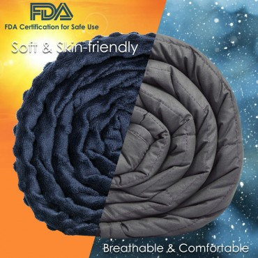 15 lbs Weighted Blanket With Removable Soft Crystal Cover