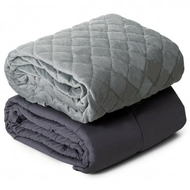 25 lbs Weighted Blanket 100 Percent Cotton With Soft Crystal Cover