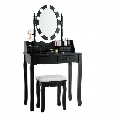 4 Drawers Vanity Table Dressing Table With Touch Switch