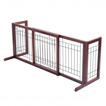 Wood Gate Adjustable Pet Fence Playpen