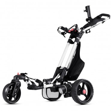 120 W Foldable Electric Golf Push Cart With Umbrella Holder