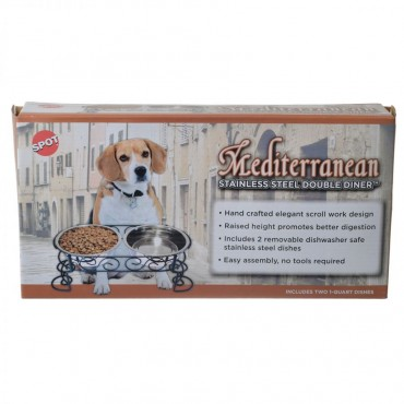 Spot Mediterranian Old Style Stainless Steel Pet Double Diner - 1 Quart