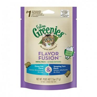 Greenies Feline Flavor Fusion Dental Treats - Ocean Fish and Tuna Flavor - 2.5 oz - 4 Pieces