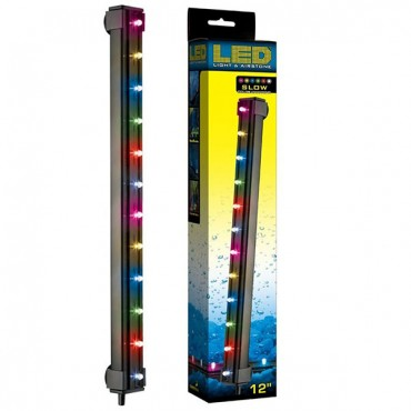 Via Aqua LED Light & Air stone Slow Color Changing - 2.7 Watts - 12 in. Long - 12 Multi color LED's