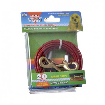 Four Paws Dog Tie Out Cable - Medium Weight - Red - 20 in. Long Cable
