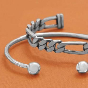Oxidized Figaro Chain Cuff